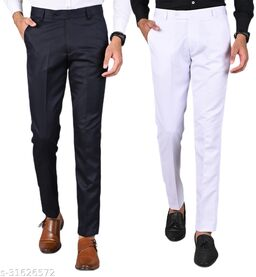 Men's Slim Fit Formal Trousers - Navy Blue, White Combo (Pack Of 2)