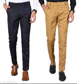Men's Slim Fit Formal Trousers - Navy Blue, Khaki Combo (Pack Of 2)