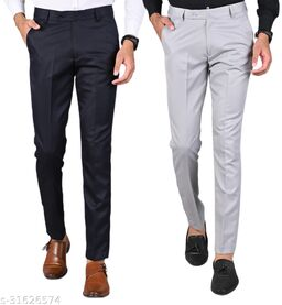 Men's Slim Fit Formal Trousers - Navy Blue, Light Grey Combo (Pack Of 2)