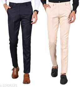 Men's Slim Fit Formal Trousers - Navy Blue, Cream Combo (Pack Of 2)