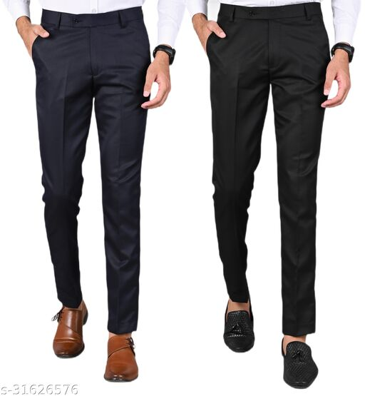 Men's Slim Fit Formal Trousers - Navy Blue, Black Combo (Pack Of 2)