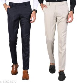 Men's Slim Fit Formal Trousers - Navy Blue, Beige Combo (Pack Of 2)