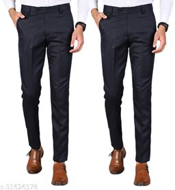 Men's Slim Fit Formal Trousers - Navy Blue, Navy Blue Combo (Pack Of 2)