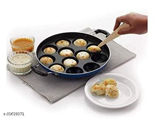 GreenFinch 12 Cavity Non-Stick Aliminium Appam Patra 21 cm, Paniyarakal with 2 Side Handle and Stainless Steel Lid, Color May Vary, Aluminium, Multicolour