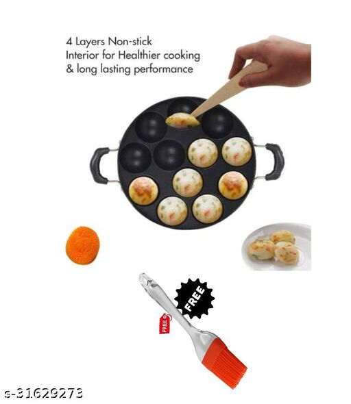 GreenFinch 12 Cavity Non-Stick Aliminium Appam Patra 21 cm, Paniyarakal with 2 Side Handle and Stainless Steel Lid, Color May Vary, Aluminium, Multicolour with free silicon brush