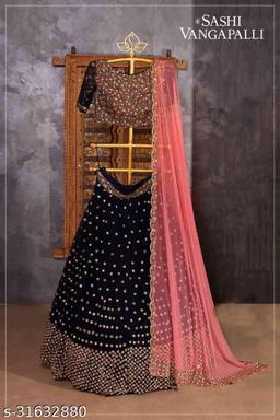 Black Colored Designer Partywear Embroidered Work Silk Material Lehenga Choli--lc229