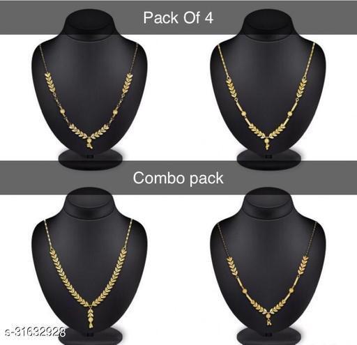 Alloy Designer Fency Dokiya Necklace (Pack Of 4 Combo Pack)