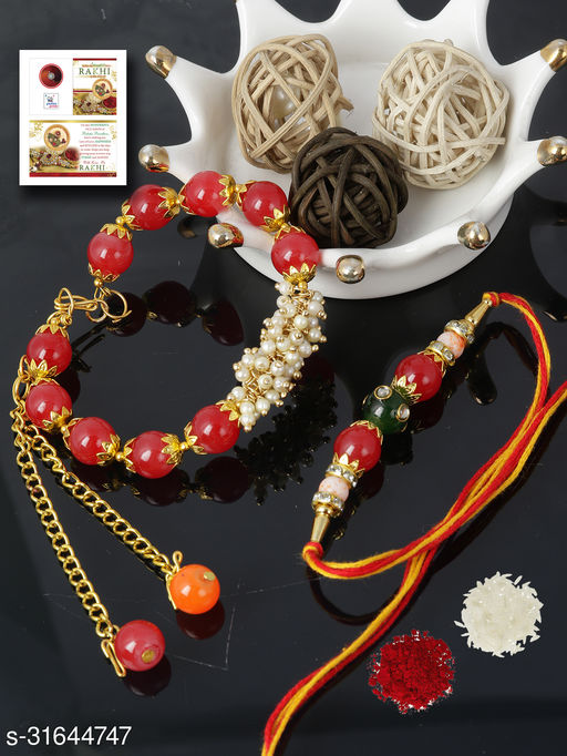 Passion Petals Bracelet Style Red Pearls Bhaiya Bhabhi Rakhi Set , Rakshabandhan Card/Bhabhi Lumba/Brother Rakhi/Roli Chawal Set of 2 (A200)