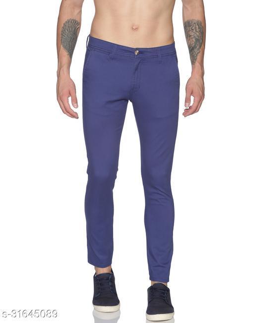 Raa Jeans Men's Blue Cotton Blend Solid Slim-Fit Trouser