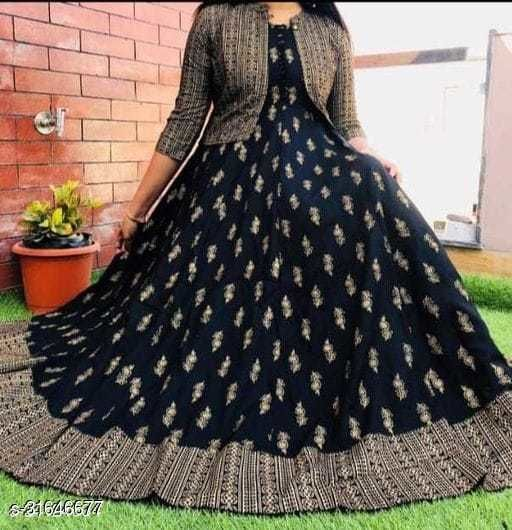 RAYON BEAUTIFUL PRINTED AND CHOLI ATTACHED LONG GOWN