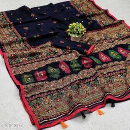 GoSriki Navy Jute Silk Printed Saree (NORA NAVY)