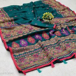 GoSriki Rama Jute Silk Printed Saree (NORA RAMA)
