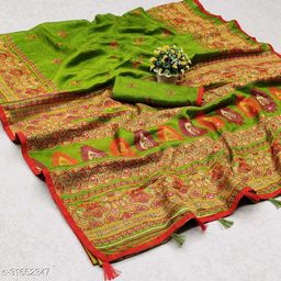 GoSriki Green Jute Silk Printed Saree (NORA GREEN)