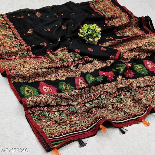 GoSriki Black Jute Silk Printed Saree (NORA BLACK)