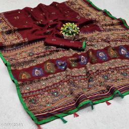 GoSriki Maroon Jute Silk Printed Saree (NORA MAROON)