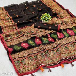 GoSriki Brown Jute Silk Printed Saree (NORA BROWN)