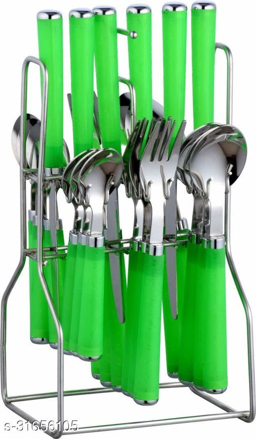 Parage Zolta Stainless Steel Cutlery Set- Set of 25 (Contains: 6 Table Spoons, 6 Forks, 6 Tea Spoons, 6 Knives, 1 Stand), Silver (Green)