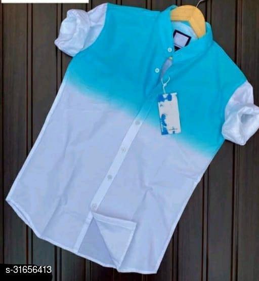 omber style men's aqua blue coloured cotton shirt