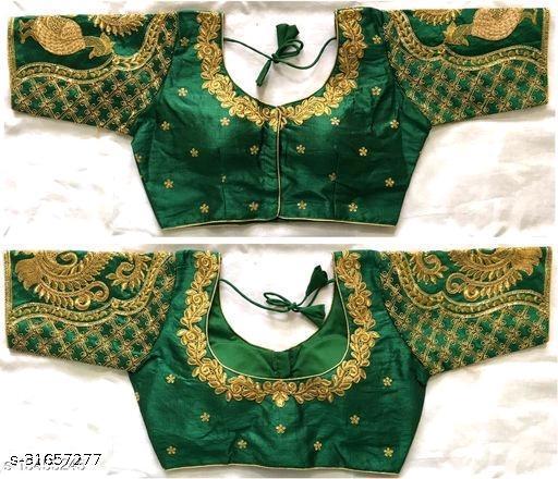 mangalam work designer silk blouse with gold zari embroidered butti