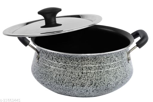 ETHICAL Special Biryani Handi Grey Colour Non-Stick Aluminium with SS Lid 21cm 510005-HND-GRY-3LTR