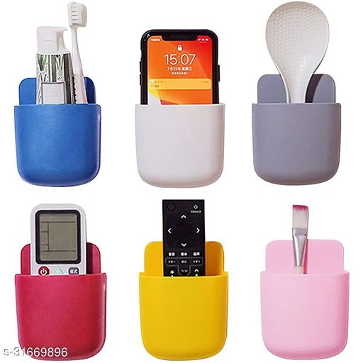 (4-pieces)Wall Mounted Storage case for Remote,Toothbresh,Mobile Phone plug Holder Multicolor(4-pieces)