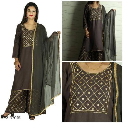 Kurta Sets Women's Embellished Rayon Kurta set with Palazzos  *Fabric* Kurti - Rayon, Sharara - Rayon, Dupatta - Chiffon  *Sleeves* Sleeves Are Included    *Size* Kurti - Up To 42 in To 44 in, Sharara - Up To 34 in To 36 in, Dupatta - 2.5 Mtr  *Length* Kurti - Up To 44 in, Sharara - Up To 40 in  *Type* Stitched    *Description* It Has 1 Piece Of Kurti, 1 Piece Of Sharara With 1 Piece Of Dupatta    *Work / Pattern* Kurti - Mirror Work, Sharara - Checkered, Dupatta - Lace Work  *Sizes Available* 42, 44 *    Catalog Name: Women's Embellished Rayon Kurta Sets CatalogID_434930 C74-SC1003 Code: 929-3167016-