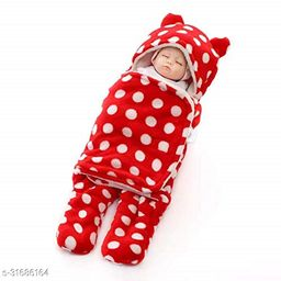 BRANDONN New born Hooded Supersoft Wearable Wrapper Sleeping Bag Cum Baby Blanket For Babies (76 cm x 70cm, 0-6 Months)