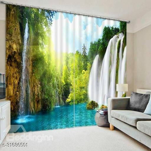 Printed Long Door Curtains Of 2 Pieces (9x7)