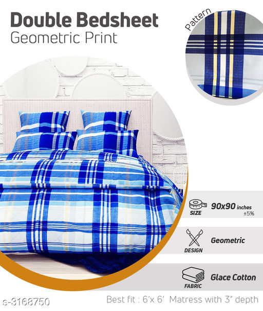 Comfy  Glace Cotton Printed Double Bedsheet