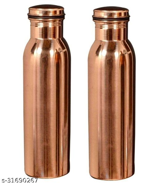 GS Pure Handmade Copper Bottle-1000Ml, Leak Proof Joint Free For Health Benefits (pack of 2 pcs. )