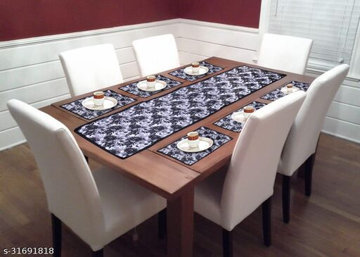 Nirva Creations PVC Table Mat with Runner for Dining Tables -Set of 7 water proof table mat