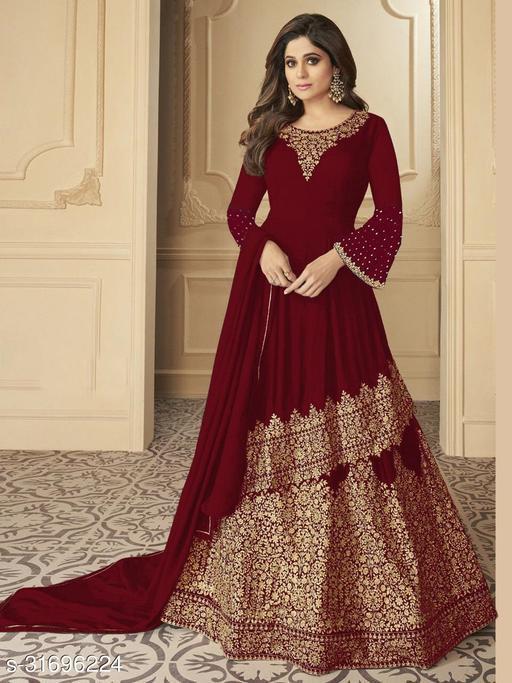 Krishna Tex Maroon Georgette Coding Embroidery Work Suit