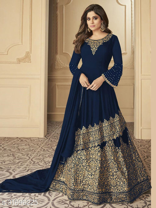 Krishna Tex Blue Georgette Coding Embroidery Work Suit