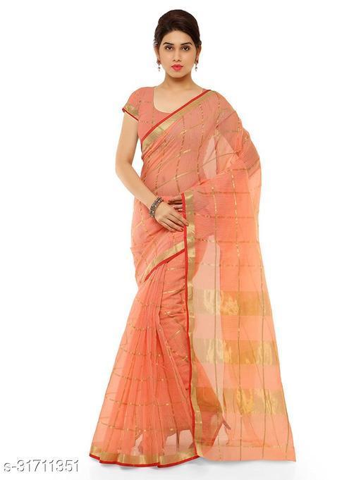 Kota doria cotton saree zari Stripes Saree with blouse piece