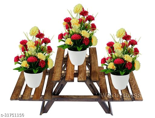 Wooden Living Room Side Stand/Wooden Stool/Flower Pot Stand Flower Vase Stand Home Decor Home Furnishing Wooden Multipurpose Folding Rack/Plant Stand with 3 Decks/Living Room Side Stand (Brown)