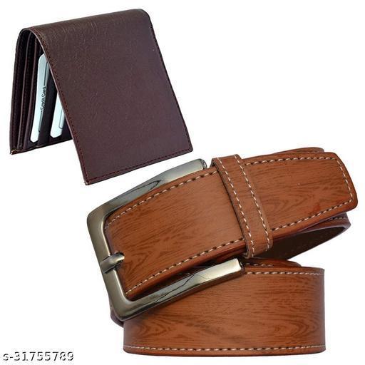Men Formal Tan Synthetic Leather Belt Wallet Combo