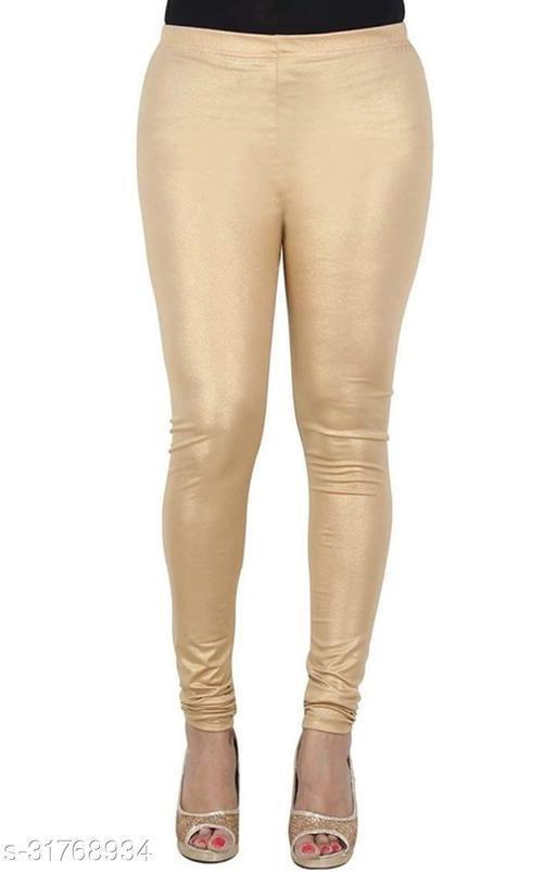 Shiny Shimmer Light Golden Shining Leggings for Women