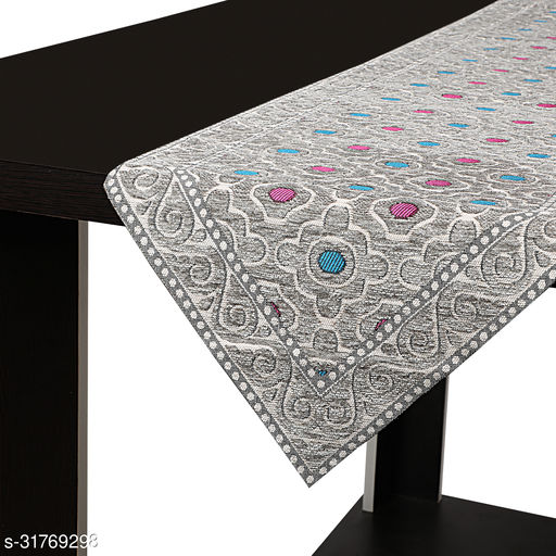 Dining Table Long Runner / Bed Runner Table Ware (Size 13 in x72 in inches) Silver