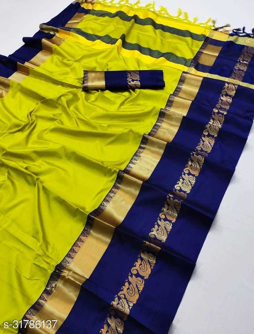 Piyora Latest Beautiful Lemon  And Navy Blue Color Soft Silk Saree With Jacquard Zari Border