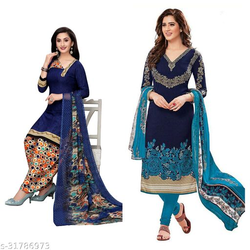 navya solid printed dress materials(pack of 2)