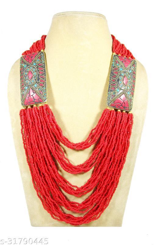 Hand made Trendy tribal naga glass bead 2 mm multi strand Necklace for women & Girl ( Length 32 inch)