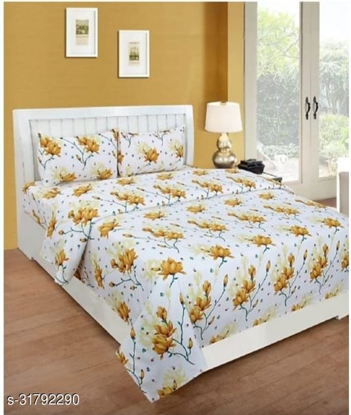 DB CREATIONS INDIAN GLACE COTTON DOUBLE BED BEDSHEET 90*90