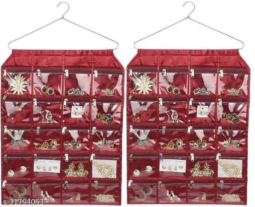 ultimatefashionista 20 Pocket Hanging Organizer, Stationery , Jewellery . Accessories Organizer Jewellery Organizer(maroon)