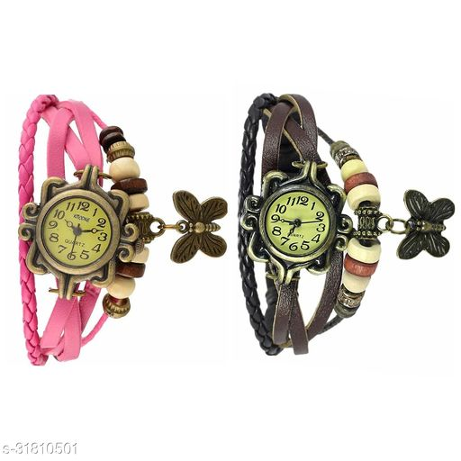Vintage Watch For Women Brown  Pink Pack Of 2