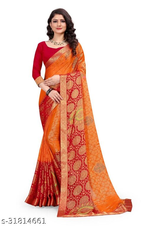 brasso printed saree with  blouse