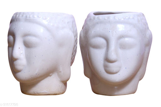 Real Product India Ceramic Planter  (Lord Buddha shape) / flower pot for your Indoor / Outdoor plantation [SET OF2]