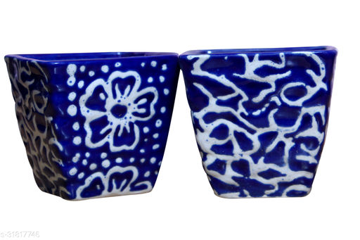 Real Product India Ceramic Planter in Blue (Square shape) / flower pot for your Indoor / Outdoor plantation [SET OF 2]