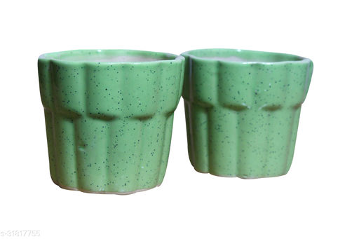 Real Product India Ceramic Planter in Green (Glass shape) / flower pot for your Indoor / Outdoor plantation [SET OF 2]
