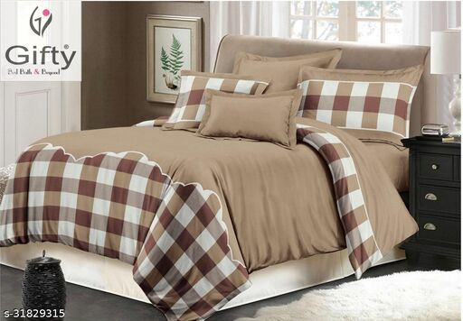 GIFTY-Glace Cotton Roots King SizeBedsheets with Two Pillow Covers(Bedsheet Size 250x275CM And Pillow Covers Size 46x69CM ,Brown