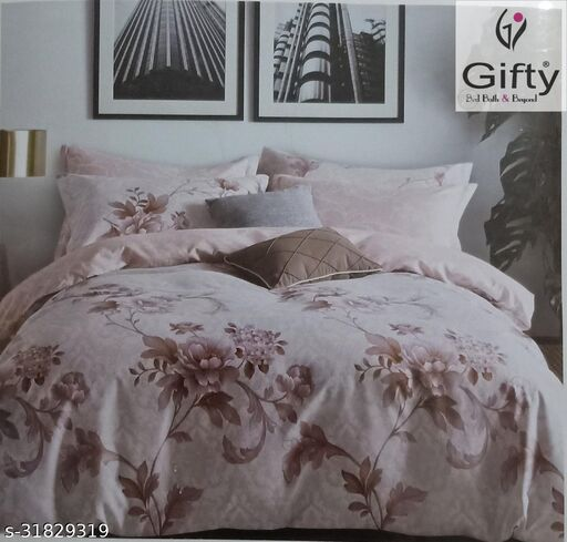 GIFTY-Glace Cotton Roots King Size Bedsheets with Two Pillow Covers(Bedsheet Size 250x275CM And Pillow Covers Size 46x69CM ,Pink